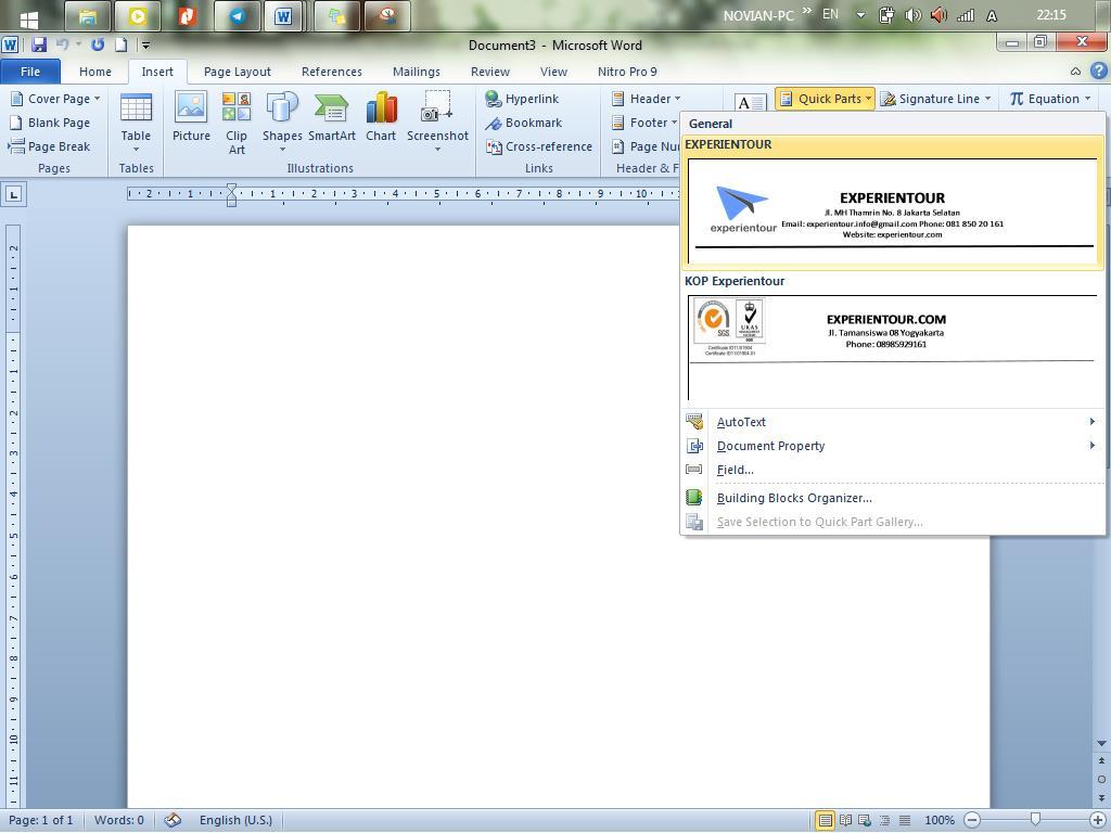 Cara menggunakan kop surat otomatis dengan menu Insert, Quick Parts