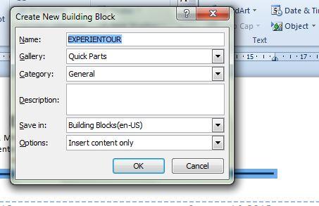 Lakukan pengaturan dialog box Create New Building Block